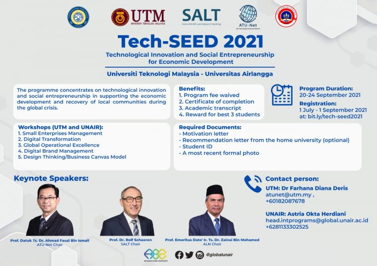 The photo shows the poster of Technological Innovation and Social Entrepreneurship fro Economic Development (Tech-SEED) which will be organised this upcoming September 2021