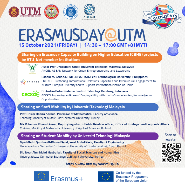 The photo shows the poster of ErasmusDay@UTM 2021 which will be organised on 15 October 2021.